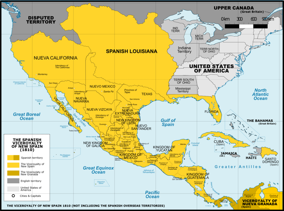 Viceroyalty of the New Spain 1800 (without Philippines)
