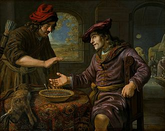 Pottage - Esau and the Mess of Pottage, by Jan Victors (1619-1676)