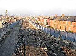 View from railway bridge, East Road, Dublin - geograph.org.uk - 1754692.jpg