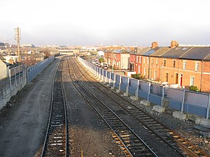 View from railway bridge, East Road, Dublin - geograph.org.uk - 1754692.jpg