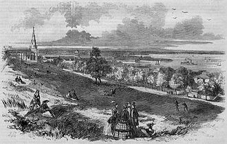 New Brighton, Staten Island - View of Brighton, Staten Island, New York, an 1857 engraving