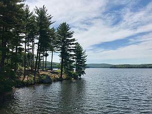 Nepaug River - View of the Nepaug Reservoir facing south from the Nepaug Dam in New Hartford, Connecticut.