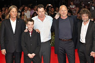 The Road (2009 film) - Actors Viggo Mortensen and Kodi Smit-McPhee, screenwriter Joe Penhall, director John Hillcoat and producer Steve Schwartz at the 66th Venice International Film Festival.