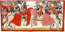 Birbirlerine karşı savaşan şövalyeler, kalkanları zambakları veya kartalı tasvir ediyor