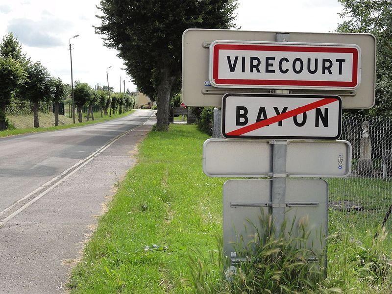 Virecourt (M-et-M) city limit sign