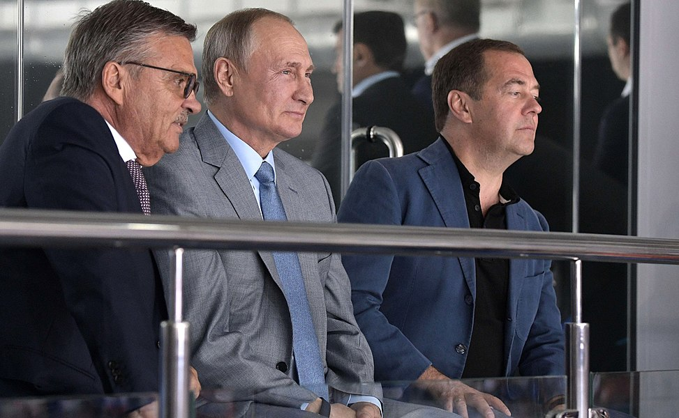 Vladimir Putin at the opening ceremony of the 2019 Sirius Junior Club World Cup (2019-08-23) 9.jpg