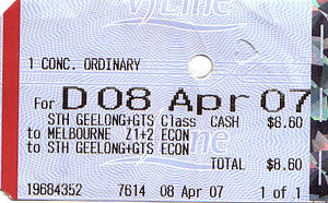 V/Line - V/Line thermally printed ticket