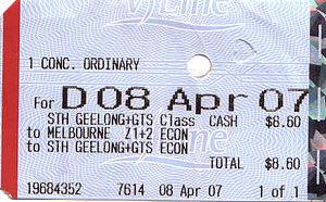 V/Line - V/Line thermally printed ticket
