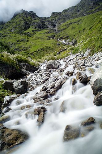 Valley of Flowers National Park - One of the streams that cuts the trek route