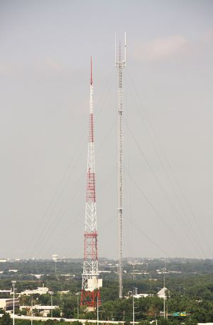 WBNS-TV - Former WBNS-TV broadcast tower (left), next to the candelabra tower from which WBNS-TV and WBNS-FM now broadcast. WCMH-TV as well as the majority of Columbus FM radio stations also broadcast from the candelabra tower.