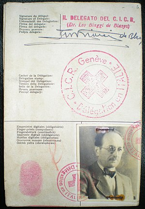 Fake passport - The Red Cross identity document Adolf Eichmann used to enter Argentina under the fake name Ricardo Klement in 1950, issued by the Italian delegation of the Red Cross of Geneva