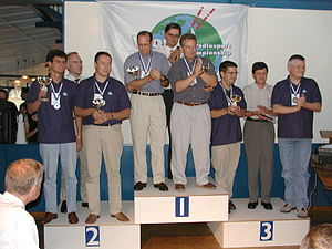 Contesting - Champions of the 2002 World Radiosport Team Championship (WRTC), Helsinki, Finland. Photo: R. A. Wilson, N6TV