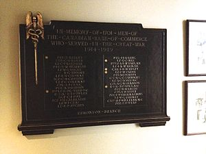 Edmund De Wind - Plaque honouring CIBC employees from the Edmonton branch that fought in the Great War.  It's located at the bank's main branch in Edmonton on Jasper Avenue. Edmund De Wind worked in this branch before joining the Canadian Corps and his name is on the plaque.
