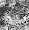 walmuur, fundering voormalige waltoren oost-zijde langs de linge tijdens restauratie - asperen - 20025774 - rce