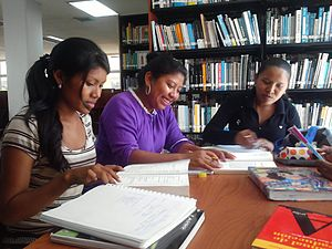 Indigenous peoples of South America - Wayuu students in a library at Universidad del Zulia, Venezuela, 2012