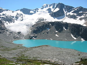 Wedge Mountain - Wedge Mountain from the north, with Wedgemount Lake in the foreground. The Wedgemount Lake hut and lake outlet are out of frame to the right.