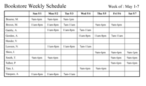 Schedule (workplace) - An example of a weekly workplace schedule
