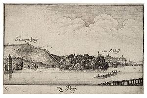 Hunger Wall - View at the Prague Castle (on the right) and Petřín Hill with Hunger Wall by Václav Hollar from the 17th century