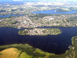 City island in the River Havel, with Großer Plessower See in the background
