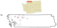 Whatcom County Washington Incorporated and Unincorporated areas Nooksack Highlighted.svg