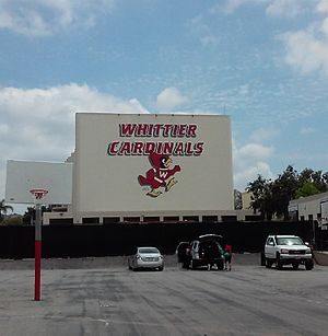 Whittier High School - Cardinals Mascot on School Wall