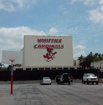 Whittier High School - Cardinals Mascot on School Wall