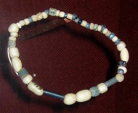 Trade beads found at a Wichita village site, ca. 1740, collection of the Oklahoma History Center Wichita trade beads 1740 ohs.jpg
