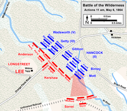 11 a.m., May 6. Longstreet attacks Hancock's flank from the railroad bed