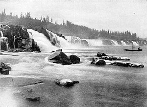 Enterprise (1855) - Willamette Falls, 1918. These falls at Oregon City separated the lower and upper Willamette.