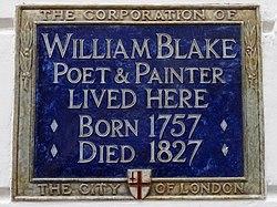 Photo of William Blake blue plaque