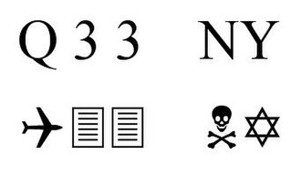 "Wingdings - The ""Q33 NY"" symbols typed out in Wingdings"
