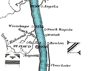 """Sartell, Minnesota - segment of map showing """"Winnebago"""" at mile 2235 of the 1866 Mississippi River ribbon map by Coloney and Fairchild, St Louis."""