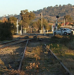 Cudgewa railway line - Cudgewa line remnant to Bandiana, looking east from the former turning triangle at Wodonga