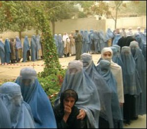 Human rights in Afghanistan - Women voting in Kabul at first presidential election in Afghan history, October 2004