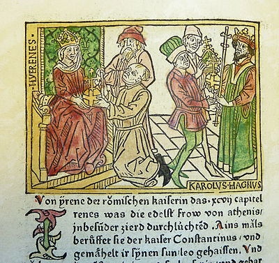 Woodcut illustration of Irene, Empress of the East, and Charlemagne - Penn Provenance Project