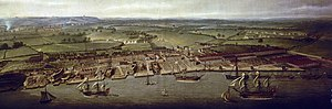 Royal Navy Dockyard - Woolwich Dockyard, 1790. Ships under repair and construction are prominently seen on the yard's two docks and three slips.