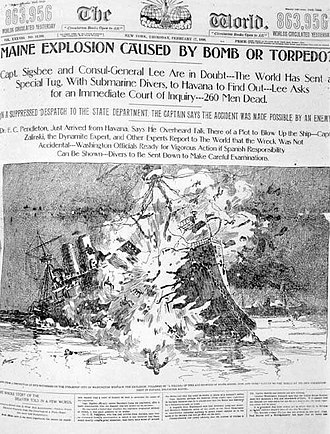 Propaganda of the Spanish–American War - Artist's depiction of the destruction of the USS Maine