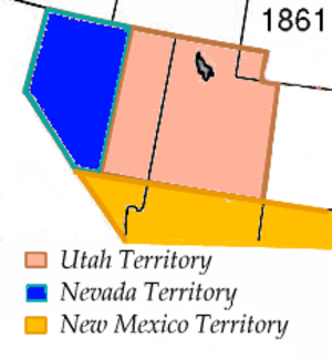Nevada Territory's at-large congressional district - Nevada Territory in 1861, with the Utah and New Mexico territories.