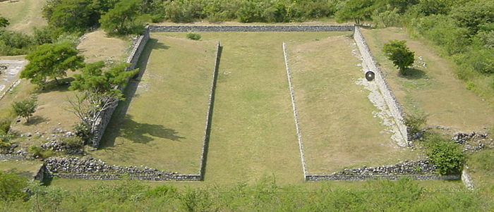 One of the ballcourts at Xochicalco. Note the characteristic