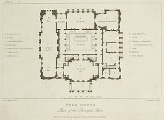 Lancaster House - A plan of the principal floor in 1827. Only minor alterations have been made to the layout of this storey since then.
