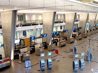 United States border preclearance - The interior of the U.S. Departures wing at Montreal Trudeau Airport.