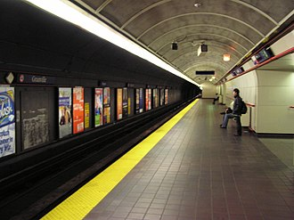 Dunsmuir Tunnel - The westbound SkyTrain platform at Granville Station