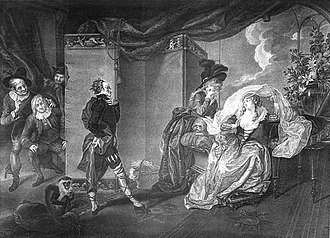 Maria (Twelfth Night) - Maria (second from right) giggling while Malvolio demonstrates his yellow stockings to his lady Olivia. Painting by Johann Heinrich Ramberg.