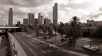 Car-Free Days - Cyclists ride down the deserted Ayalon Highway in Tel Aviv on Yom Kippur.