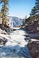 Yosemite Creek. View downstream from the footbridge across the creek just before Yosemite Falls. Raging whitewater and then over the edge... - panoramio.jpg