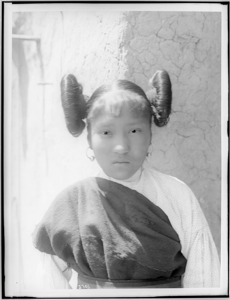 File Young Hopi Indian Girl With Hair Worn Up In Large