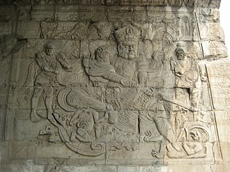Europeans in Medieval China - The Deva King of the South, a stone-carved relief on the interior of the Cloud Platform at Juyong Pass, built between 1342 and 1345 in what was then the Mongol Yuan-dynasty capital Khanbaliq (modern Beijing); the monument contains inscriptions in six different scripts: Lanydza script (used to write Sanskrit), Tibetan script (used to write the Tibetan language), 'Phags-pa script (created at the command of Kublai Khan, and used to write Chinese, Mongolian and Uyghur), Old Uyghur script (used to write the Old Uyghur language), Chinese characters (used to write Chinese), and the Tangut script (used to write the Tangut language)