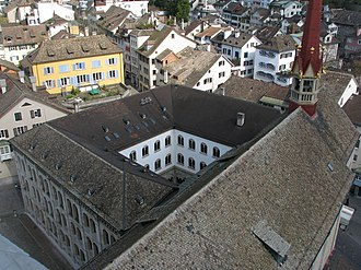 Carolinum, Zürich - the former cloister area as seen from Grossmünster's Karlsturm church tower