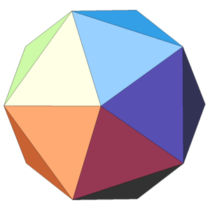 Dymaxion map - An icosahedron: This is the shape onto which the world map is projected before unfolding