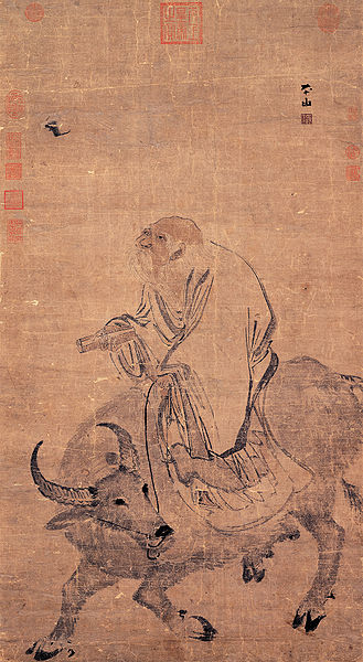Chinese philosopher Lao Tzu, riding an ox. From the Ming dynasty (1368–1644). See https://upload.wikimedia.org/wikipedia/commons/thumb/e/e8/Zhang_Lu-Laozi_Riding_an_Ox.jpg/329px-Zhang_Lu-Laozi_Riding_an_Ox.jpg